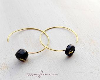 brass hoop earrings lapilazuli washer