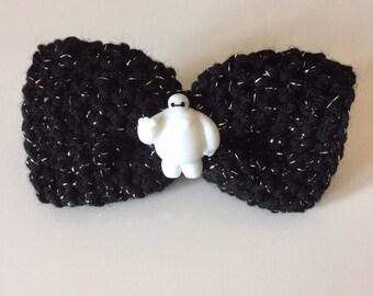 Baymax Hair Barrette ~ Disney Bow ~ Crochet Hair Bow - Hair Clip - Crochet Bow - Children's Bow - Adult's Bow