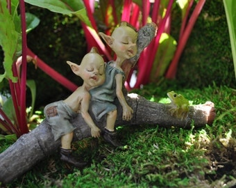 Twin Garden Pixies Napping+Fairy Garden Miniatures+Fairy Garden Sculpture+Fairy Garden Supply