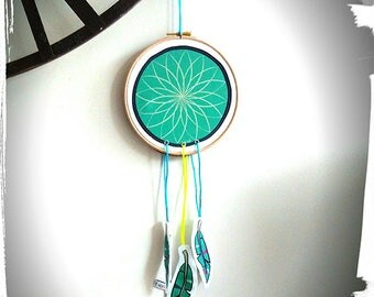 Embroidery hoop dreamcatcher, feathers, wall decor, room child, dream catcher