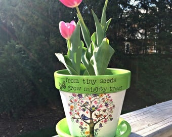 "Personalized teacher flower pot, custom planter, painted terracotta, decoupage, teacher appreciation gift,message tree pot, 5"" tall."