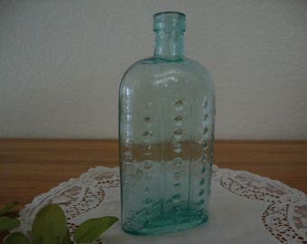 "Scarce Antique 1890's aqua blue HOBNAIL Glass ""AMMONIA POISONOUS Not To Be Taken"" English Victorian Apothecary embossed Poison Bottle vase"