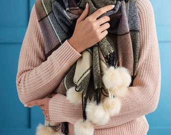Personalised Pom Pom Trimmed Cashmere Blanket Scarf (HBS28)