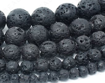 "Lava Rock Beads Natural Gemstone Round Loose - 4mm 6mm 8mm 10mm 12mm - 15.5"" Strand"