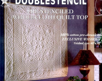 """Cana Lily Wallhanging Spartex Doublestencil PreStenciled Wholecloth Quilt Top Sealed Antique Tea Dye Holice Turnbow Pattern Size 40"""" x 40"""""""