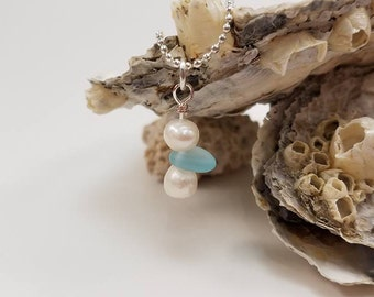 Pearl & Beach glass necklace
