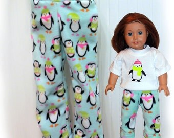 "Girls Pajama Pants- Toddler Pajama Pants - Girl Doll Pajama Set - Wellie Wishers Set - AGD Matching Set - Pajama Set - 18"" Doll Pants -"