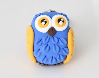 Blue and yellow Owl keychain