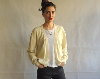 80s 90s Vintage Pale Yellow Vanilla Knitted Long Sleeve Button Up Cardigan Vest