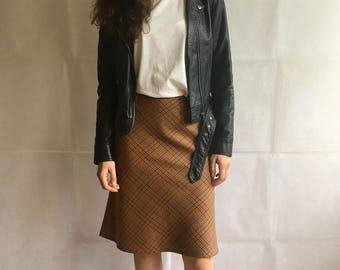 Vintage Brown Checkered Midi Skirt