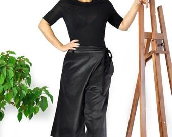 Dark Grey Velvet pants/Velvet loose skirt-pants/Casual maxi Pants/Short velvet cotton pants/Luxury Velvet pants/Asymmetric short pants/P0245