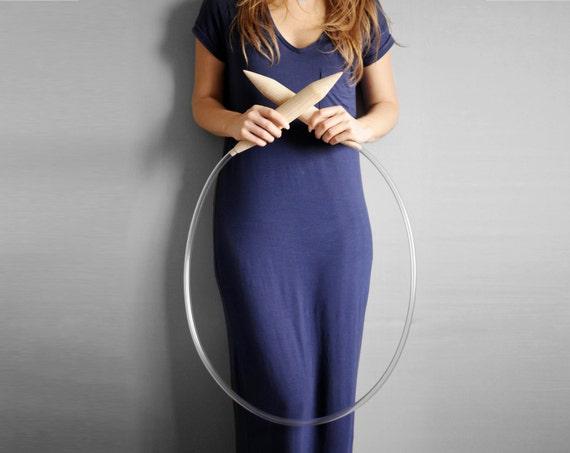 """Circular big wooden needles 40mm / 1.6"""" in diameter."""
