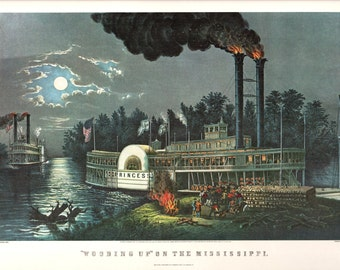 Wooding up on The Mississippi and an Extra Large print of Currier and Ives. The page is 18 3/4 inches wide and 14 inches tall.