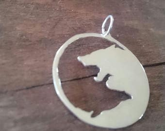 Odins two wolves Geri and Freki in Silver