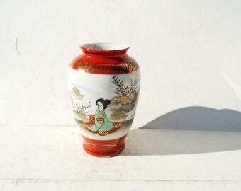 Japanese Vase, Geisha Vase, Mini Vase, Japanese Art, Asian Mini Vase,