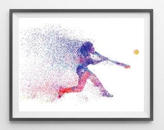 Softball player watercolor print softball poster, softball hit print sport art softball wall decor softball giclee print and canvas art