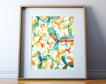 Antibody Watercolor Art Print - Histology Art Print - Abstract Anatomy Biology Art