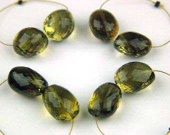 AAA+ Flawless Bicolor Quartz Laser Micro-Faceted Plump Oval Beads 15mm Genuine Gemstones Straight Drilled Lemon n Smoky Phamtom Quartz 24cts
