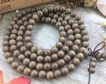 108pcs  8mm Sichuan Silkwood Phoebe sheareri Zingana Wooden Beads Meditation Prayer Beads Japa Mala Buddha Necklace