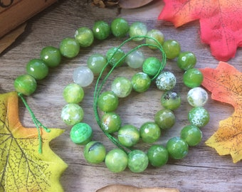"""1 Strand 15"""" 10mm Faceted Green Stripe Agate Round Gemstone  Loose Beads DIY Suppliers for Jewelry  Spacer Charms"""