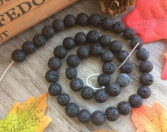 "15"" 8MM/6MM Natural Lava Rock Stone  Natural  Loose Beads For Yoga Show Jewerly"