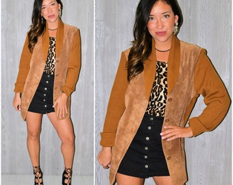 Brown Suede Sweater Jacket Long Sleeve Cognac Knit Genuine Suede Blazer Button Up Coat Fall Winter Size Large Boho Hippie Bohemian Menswear