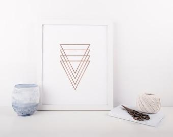 Rose Gold Geometric Triangles, Abstract Art Print, Modern Minimalist Poster, Geometric Prints, Home Decor, Wall Art