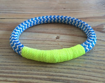 Nautical Rope Bracelet in Bright Blue & Neon Yellow. Handmade in the U.K.