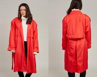 80s London Towne Bright Cherry Red Macintosh Raincoat Trench Coat • M / L