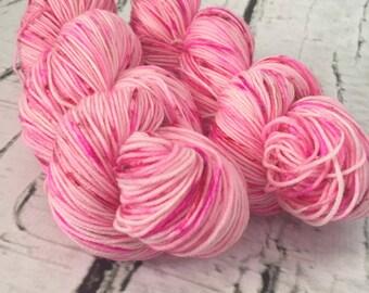 Sock yarn superwash merino, nylon, Valentine's day, pink, red, hand dyed