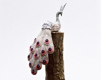 Grey wool ornamental sewn bird, bird statuette, wire art