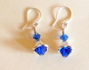 Capri Blue Earrings, Captured Earrings, For Her, Handmade Earrings, Dangle & Drop, Dainty Earrings,Silver, Capri Blue Crystal Earrings