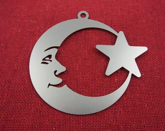 Moon and Star Christmas Ornament, Stainless Steel, Christmas Ornaments, Christmas Decoration, Tree Ornament, Christmas Decor, Ornament