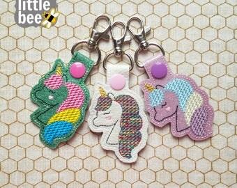 lovely little rainbow unicorn snap tab - unicorn embroidery design - unicorn key fob keychain - DIGITAL machine embroidery design 03 24 2017