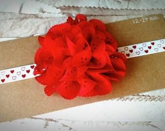 Valentine's headband, Eyelet lace Flower Headband-Child Headband-Toddler Headband, red headband, large flower headband, heart headband