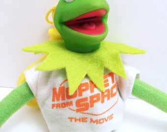 Vintage 'Muppets from Space' Kermit the Frog Keychain Clip Toy