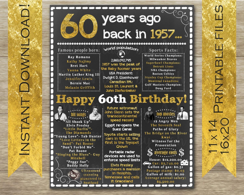 1957 Birthday Sign 60th Birthday Sign Back In 1957 Happy