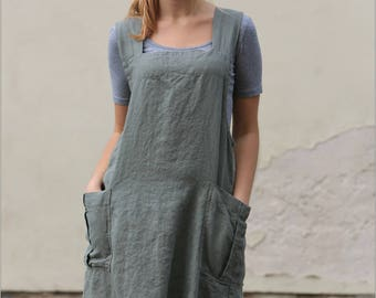 Linen Pinafore apron, Pinafore, Linen apron, Square Cross Linen Apron, Japanese Apron, Linen Summer Dress, Casual Dressc
