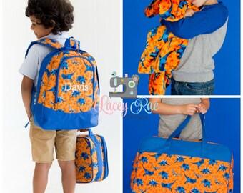 Toddler Backpack, Lunchbox, Duffel Bag and Blanket, Orange dinosaur Backpack, Preschool backpack, Church Bag, Diaper Bag,