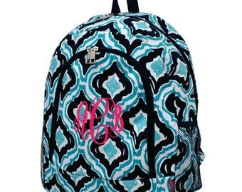 Monogram Quatrefoil Ikat Navy Backpack