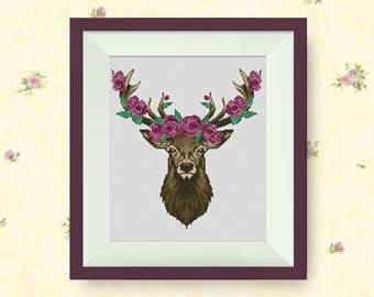 BUY 2, GET 1 FREE! Deer with flowers Cross Stitch Pattern, pdf counted cross stitch pattern, Deer silhouette, Modern cross stitch, #P267