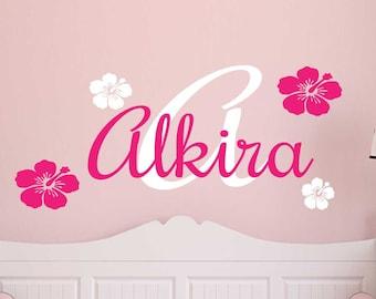 Custom Flower monogram Wall Decal - Wall Sticker - nursery / bedroom - wall art/girls room