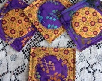 Coasters quilted set of 4 purple and orange batik