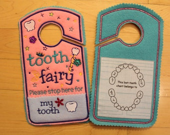 Tooth chart, Tooth Fairy please stop here Door Hanger, tooth chart, Pocket, Tooth Fairy Pillow Alternative, girl colors, pink, blue