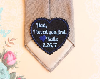 Wedding Tie Patch, Dad, I loved you first - Father of the Bride tie patch, Tie label, note,Personalized Tie patch heart shaped,Canada,TLH20B
