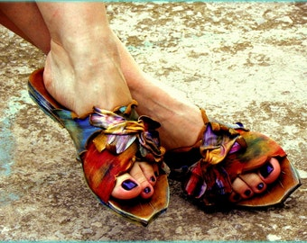 "Greek Handmade Leather Sandals, Women Sandals, Handpainted Sandals ""Sikinos"" (handmade to order)"
