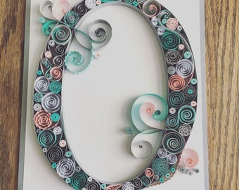 Quilled Monogram, Quilled Art, Home Decor, House Warming Gift, Wedding Gift, Shower Gift