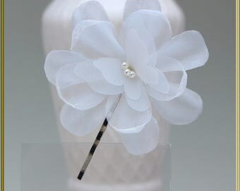 White Flower Grip Butterfly Grip Wedding Grip Bridal Hair Grip Wedding Hair Piece Party Hair Clip Organza Grip Summer Hair Accessories