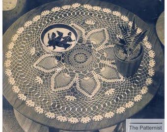 "Large Doily Crochet Pattern  22"" Diameter Vintage 50s Pineapples Size 40 Crochet Cotton PDF Instant Download SKU 72-2"