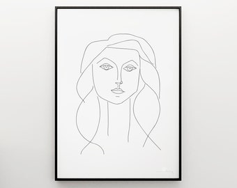 Picasso sketch, Picasso Poster, Minimalist Print, Minimal art,  Picasso Girl in Black and White